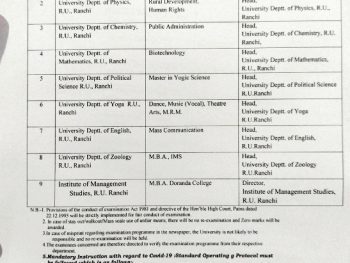 Important Notice from Examination Department ,Ranchi University