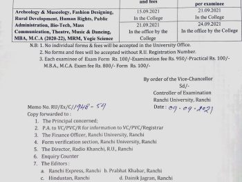 Important notice about examination form submission  for semester 1